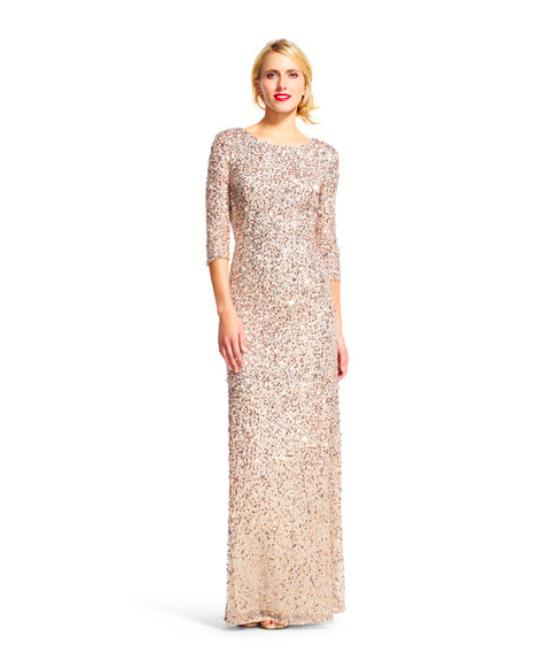 Adrianna Papell Champagne Silver Scoop Back Sequin Gown In Dress ...