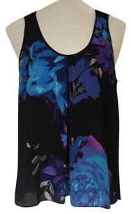 Adrianna Papell Floral Elegant Sleeveless Night Out Top Blue Floral