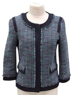 Adrianna Papell Tweed Fringe Detail 210146st Navy/Teal green Jacket