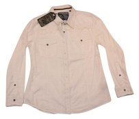 Affliction Longsleeve Fringe Button Down Shirt White