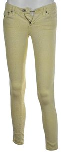 AG Adriano Goldschmied Legging Ankle Womens Yellow 24r Animal Print Pants Skinny Jeans