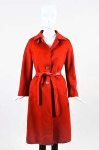 Agnona Knit Leather Trim Button Up Long Sleeve Belted Jacket Trench Coat