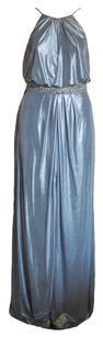 Aidan Mattox Floor Length Maxi Beaded Belted Slit Dress