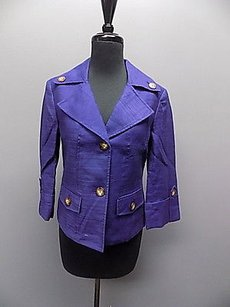 AK Anne Klein Ak Anne Klein Purple Lined Long Sleeved Two Button Solid Blazer 079a