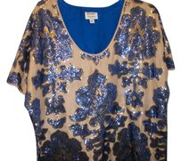 Tracy Reese/ Neiman Marcus Top royal blue, w/ gold n beige, n silver sequence