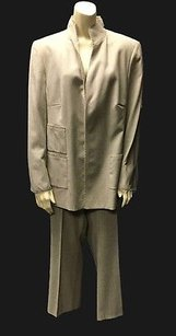Akris Akris Tan Beige 100 Wool Button Down Career Dress Pant Suit Hs2548