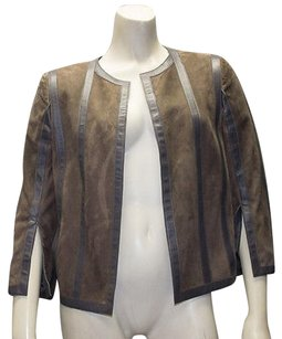 Akris Taupe Gray Leather Goat Suede Open Front Striped Coat Hs1977 Multi-Color Jacket