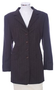 Akris Cashmere Striped Viscose Charcoal Blazer