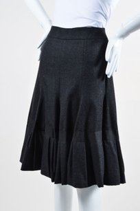 Akris Charcoal Wool Skirt Gray