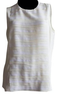 Akris Cream White Silk Tiered Top Ivory