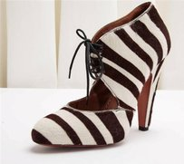 ALAÏA Alaia Zebra Stripe Pony Hair Lace Up Bootie High Heel Rt BROWN/WHITE Pumps