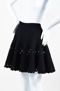 ALAA Alaia Fleece Wool Blend Mini Skirt Black