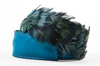 Alberta Ferretti Alberta Ferretti Teal Blue Satin Feather Belt