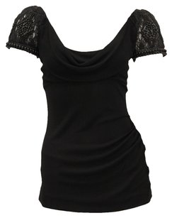 Alberta Ferretti Beaded Cap Sleeve Ruching Top Black