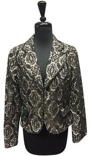 Alberto Makali Alberto Makali Black Lace Flower Pattern Beaded Trim Lined Blazer Sma10348