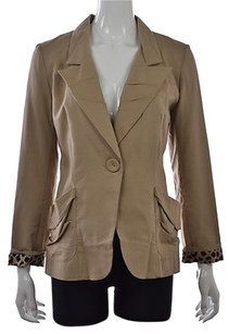 Alberto Makali Alberto Makali Womens Beige Blazer Long Sleeve Animal Print Career Jacket