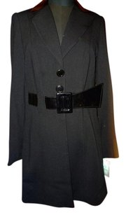 Alberto Makali Faux Leather Trm Chic Sophisticated Trench Coat