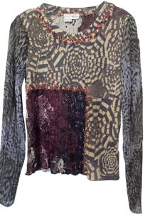 Alberto Makali New Mixed Fabric Mixed Pattern Sweater Silky Deep red, grey, off-white, black, pink +++ Blazer