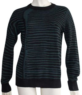 A.L.C. Green Black Wool Knitted Zebra Striped Crewneck Hs444 Sweater