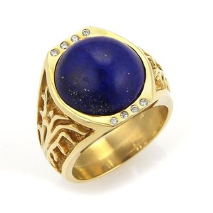 Alex and Ani 18k Yellow Gold Diamonds And Lapis Open Design Solitaire Ring 9.25