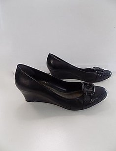 Alex Marie Solid Leather Cap Toe Wedge Heel W Buckle B3486 Black Platforms