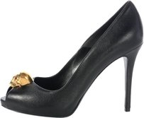 Alexander McQueen Am.j0629.09 Brass Skull Peep Toe Leather Heels Pumps