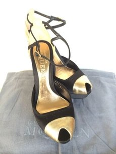 Alexander McQueen Gold Satin Toe Black Platforms