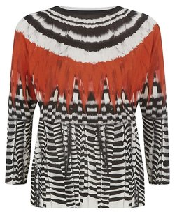 Alexander McQueen Feather Print Printed Top Red