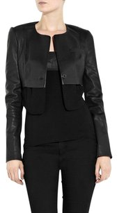 Alexander Wang Leather Sheer Mesh Layered Single Button Cropped 4s Black Jacket
