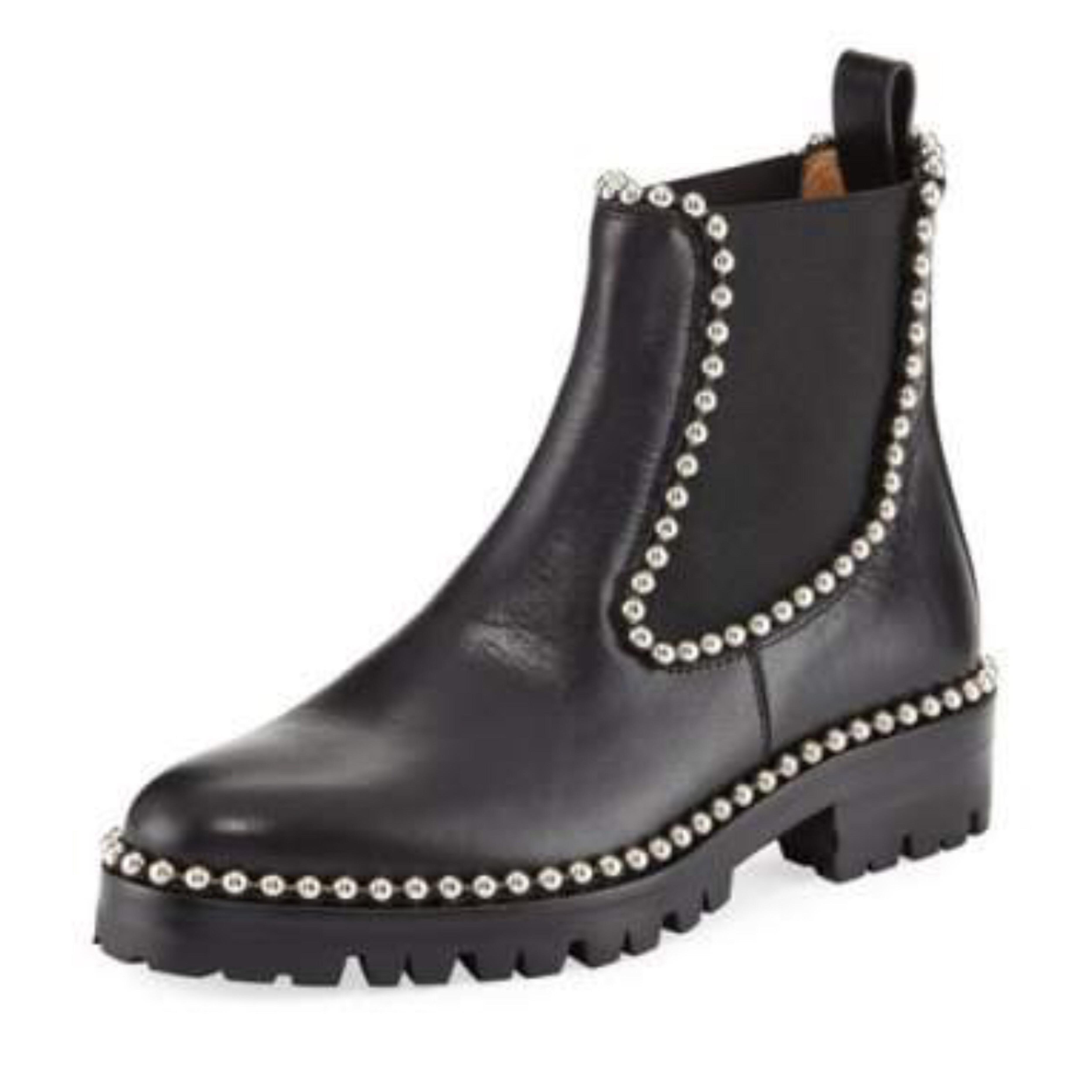 Alexander Wang Black Spencer Studded Chelsea Boots/Booties Size EU 35.5 (Approx. US 5.5) Regular (M, B)