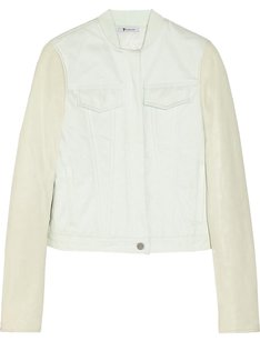 Alexander Wang Leather Flap Lambskin Mint Green Womens Jean Jacket