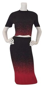 Alexander Wang Micro Pliss Pleat Ombr Cropped Top And Pencil Skirt