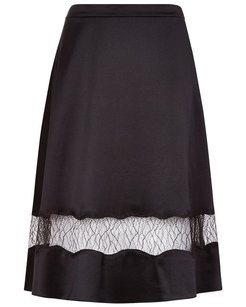 Alexander Wang Satin Lingerie-inspired Sexy Skirt Black
