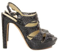 Alexandre Birman Snakeskin Platform Cut-out Edgy Slingback Black Sandals
