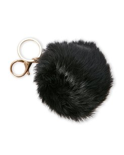 Alexia Crawford Black Real Fur Pom-Pom Bag Charm/Keychain