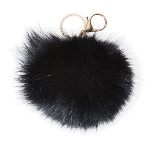 Denali Black Real Fox Fur Pom-Pom Bag Charm/Keychain