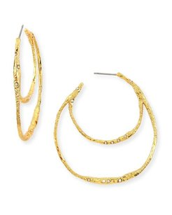 Alexis Bittar ALEXIS BITTAR GOLD CRYSTAL EMBELLISHED DOUBLE HOOP EARRINGS