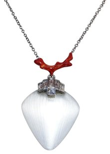 Alexis Bittar NEW! ALEXIS BITTAR SILVER LUCITE CORAL DECO PENDANT NECKLACE