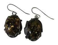 Alexis Bittar Vintage Smoky Green Quartz Silver Earrings