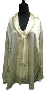 Alfani Woman Long Sleeved Tie Front Shiny Solid 3x 3297a Top Cream