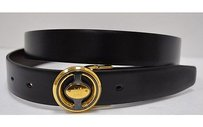 Alfred Dunhill Dunhill London 46115 Black Leather Goldpewter Buckle Belt 110525at