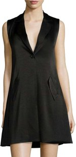 Alice + Olivia Crepe Tuxedo Sleeveless Shift Dress
