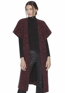 Alice + Olivia Merlot Knit Kimono Wrap Augustina Sweater Coat 230104f Merlot/black Jacket
