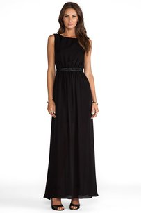 Black Maxi Dress by Alice + Olivia Yvette Long Studded Leather Waistband Long Maxi 2s