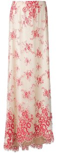 Alice + Olivia Kira Nude Embroidery Floral Lace Tulle 0xsp Maxi Skirt Red