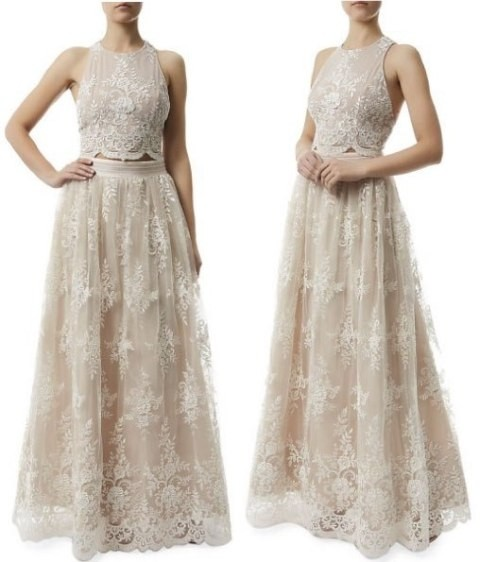 Alice + Olivia Nude White Rayon / Nylon / Cotton / Polyester / Polyethylene  / Lace Vintage Wedding Dress Size 4 (S)   Tradesy
