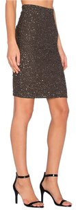 Alice + Olivia Ramos Embellished Beaded Pencil Shimmery Skirt Army