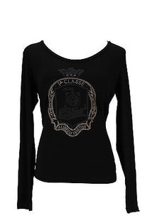 Alviero Martini Ruched Sleeve Cuffs Solid Womens T Shirt Black