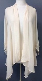 Alya Sheer Poly Nylon Quarter Lace Edge Sleeve Cardigan Sma6290 Sweater