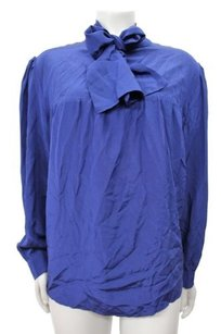 Amanda Uprichard Renae Silk Top navy blue